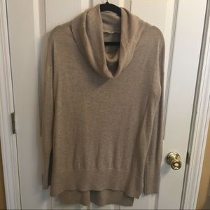 LOFT Taupe Tunic CowlNeck Sweater